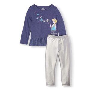Disney Frozen Toddler Girls 2 Piece Outfit NEW!